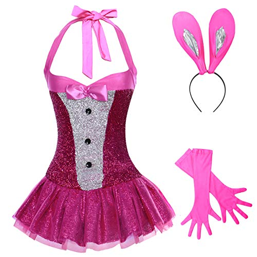 4eac075c25 Women Easter Bunny Costume Fancy Dress up Sexy Rabbit Outfit Mini  Dress+Ears+Gloves