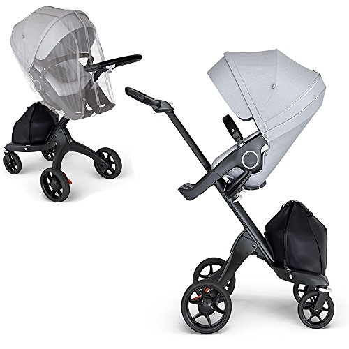 (Stokke Xplory V6 Black Chassis Stroller with Black Leatherette Handle, Grey Melange with Mosquito Net)