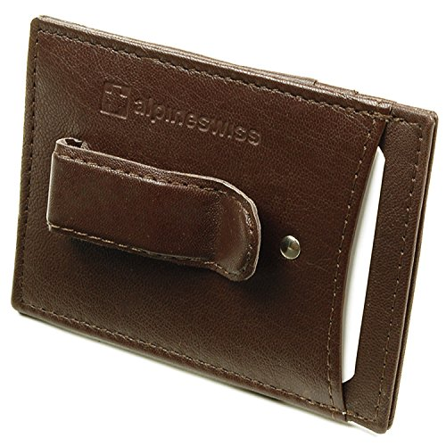 Alpine Swiss Men's Top Grain Leather Minimalist Money Clip Front Pocket Wallet Dark Brown ()