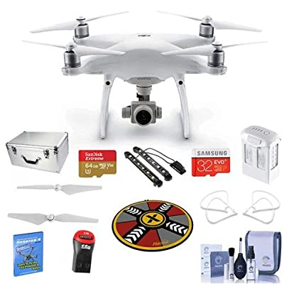 "DJI Phantom 4 Advanced Basic Kit - Bundle with Aluminum Case, 64/32GB MicroSDXC Card, Spare Battery, Quick-Release Propellers, Propeller Guard, 32"" Collapsible Pad, Polar LED Light Bars, And More"
