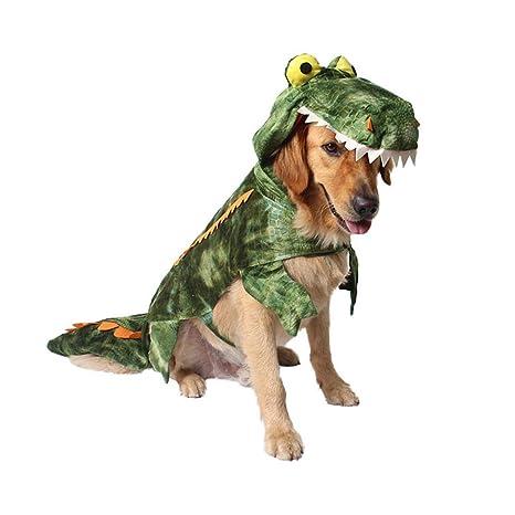 Pawaca - Ropa para mascotas,disfraz de cocodrilo con capucha para perro abrigos para mascotas