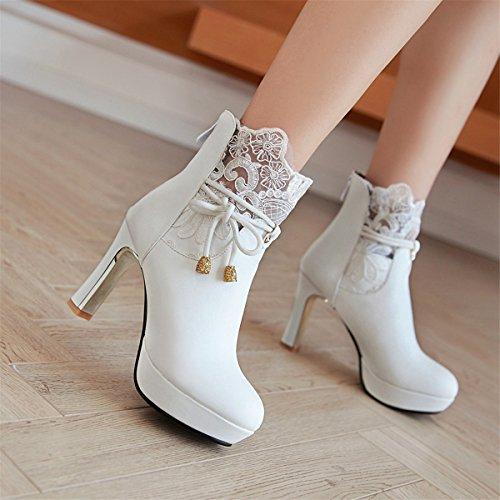 High Heels Women's Boots Block Platform Heel Ankle with Boots White Winter Elegant Autumn Lace Zip YE Short up qxHUtIt