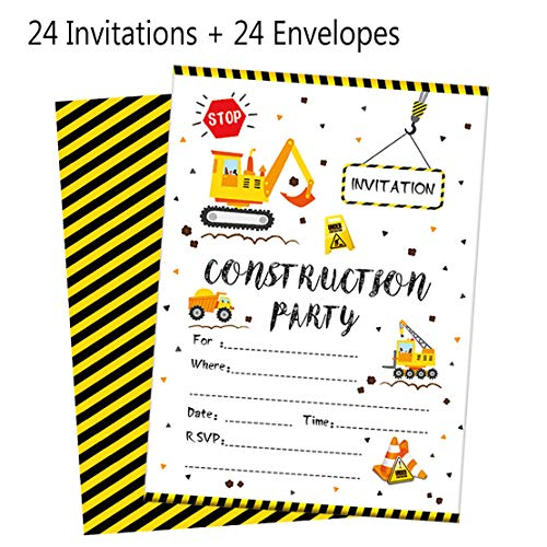 24 PCS Construction Trucks Birthday Party Supplies Invitations Cards with Envelopes Celebration for Kids Boys]()