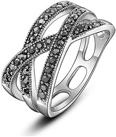 Dnswez Rhodium Plated Black Crystal Marcasite Crossover Fashion Statement Ring
