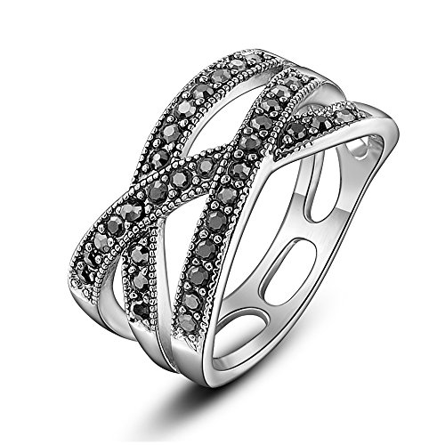 (dnswez Black Marcasite Beaded Criss-Cross Band Ring Silver Tone Statement Ring(7))