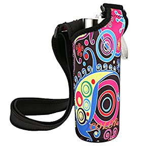 "ICOLOR Neoprene Bottle Holder, Adjustable Bottle Carrier w/ Shoulder strap,Sling insulated Sports Water Bottle bag Case Pouch Cover,Fits Bottle w/ the diameter less than 2.75 "" (WBC-005)"