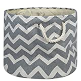 """DII Collapsible Polyester Storage Basket or Bin with Durable Cotton Handles, Home Organizer Solution for Office, Bedroom, Closet, Toys, & Laundry(Large Round - 15x16""""), Gray Chevron"""