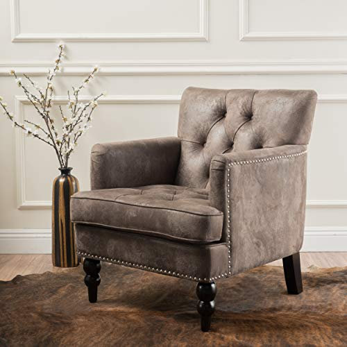 (Medford Brown Tufted Club Chair, Fabric Accent Chair with Studded Nailhead Accents)