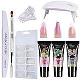 Poly Nail Extention Gel Kit Anself 3 Colors Poly Gel Nail Lamp False Nail Tips Kit Nail Extension Set Gel Nail Builder Enhancement Kit (Color: 3#)