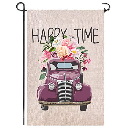 Shmbada Truck Flowers Happy Time Double Sided Burlap Garden Flag, Premium Material, Welcome Seasonal Spring Summer Outdoor Funny Decorative Flags for House Garden Yard Lawn Patio, 12.5 x 18.5 inch