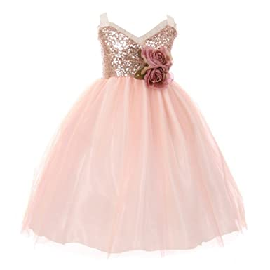 2b6d8c2b5b17 Little Girls Blush Sequin Ruffle Trim Layered Tulle Flower Girl Dress 2