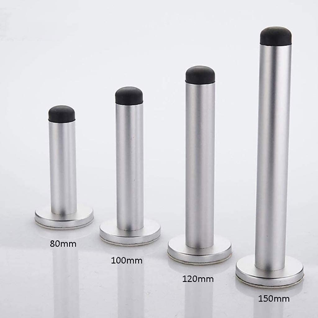 ZSH Door Stop Heavy Duty Aluminum Door Stopper Wall Mounted with Rubber Buffer,for Home and Kitchen (with Screws and 3M Self Adhesive) Size : 120mm