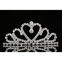 Lovelyshop Mini Heart Tiara de diamantes de imitación para la boda nupcial Prom cumpleaños Pegeant Prinecess Party