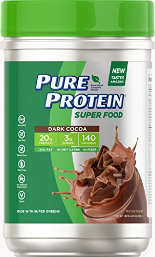 (Pure Protein Vegan Plant Based Hemp and Pea Protein Powder, Gluten Free, Dark Cocoa, 1.51 lbs )