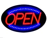 "Jumbo 24"" x 13"" LED Neon Sign with Motion - ""OPEN"" (Red/Blue) B30"