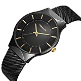 Tonnier Mens Watch Black&Golden Stainless Steel Ultrathin Mesh Strap Watch for Men