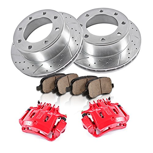 Duty Super Rotor F250 Pickup (REAR Powder Coated Red [2] Calipers + [2] 8 Lug Rotors + Quiet Low Dust [4] Ceramic Pads Performance Kit)