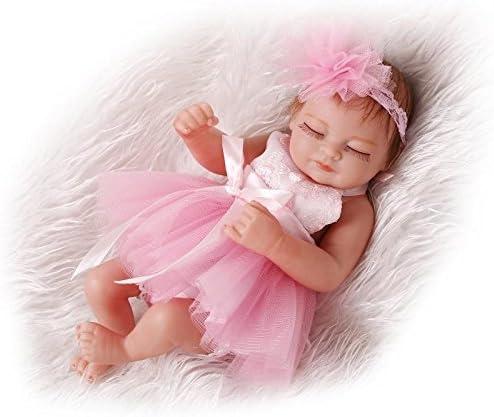 Pinky Reborn Muñecos Bebé 10 Inch 26cm Mini Hard Silicona Realista Suave de Vinilo Cuerpo Entero Renacer Bebé with Vestido Rosa