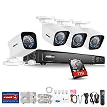 ANNKE 8CH 1080P POE NVR Security Camera System with 1TB HDD included + 4xHD 1080P CCTV Bullet Cameras