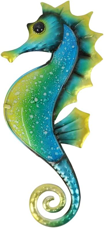 Liffy Retro Home Decorations Ocean Theme Hanging Wall Decoration Metal and Glass Handmade Seahorse Sculptures with Special Anti-Rust Treatment Coating Suitable for Garden, Study Room, Bathroom