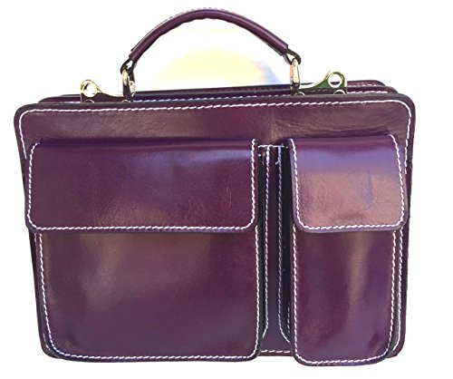 Made in Porta Superflybags M Classic modello Viola Italy 28x20x9 Borsa Piccola Pelle Vera Tablet Uomo c80fqZ0w1