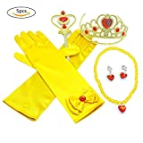 Princess Dress Up Accessories,SHZONS 5PCS Yellow Princess Dress Up Gift Set For Belle Crown Scepter Necklace Earrings Gloves, Yellow