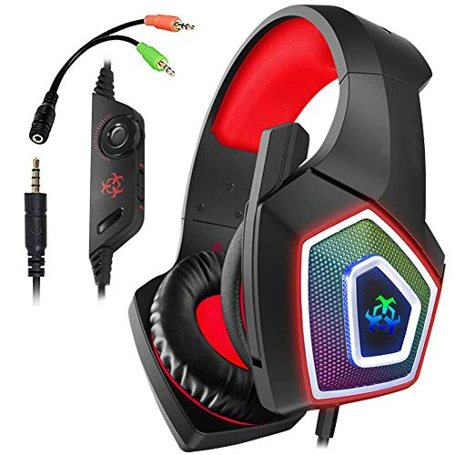 TAOXUE PS4 Headset, PC Gaming Headset with 2.2 Meter Cable And Noise Cancelling Mic Headphones for Laptops, Computer,Mac…