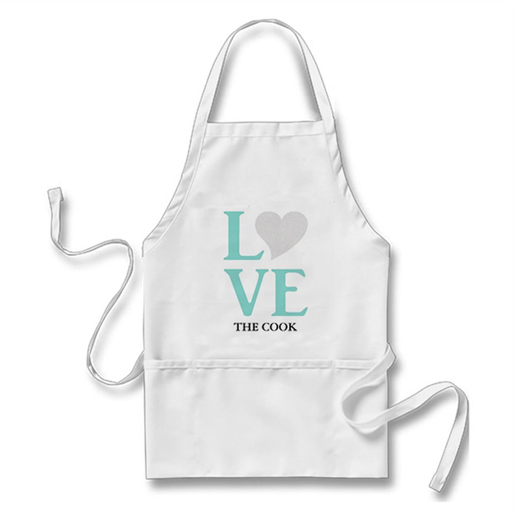 Julyou Funny Teal Blue Wedding Love The Cook Party Apron for Women Men, White
