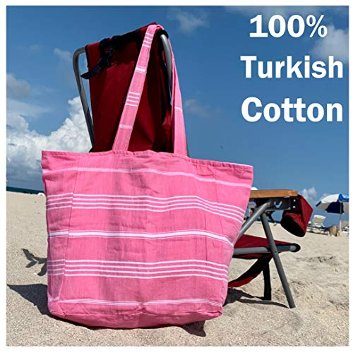 Luxury Lined Tote Beach Bag 100% Soft Turkish Cotton w/ Interior Liner Zippered Pouch Women