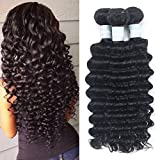 Yrenrea Hair Brazilian Deep Wave Human Hair Extensions Remy Virgin Hair Human hair bundles can be Dyed and Bleached Natural Color (16 18 20 22) Review