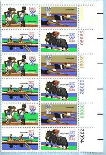 1980 SUMMER OLYMPIC GAMES '80 ~ MOSCOW ~ EQUESTRIAN ~ ROWING ~ RUNNING ~ SWIMMING #1794a Plate Block of 12 x 15 cents US Postage Stamps ()