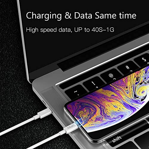 OPSO USB C to Lightning Cable 4ft Apple MFi Certified Supports Power Delivery Fast Charging Syncing
