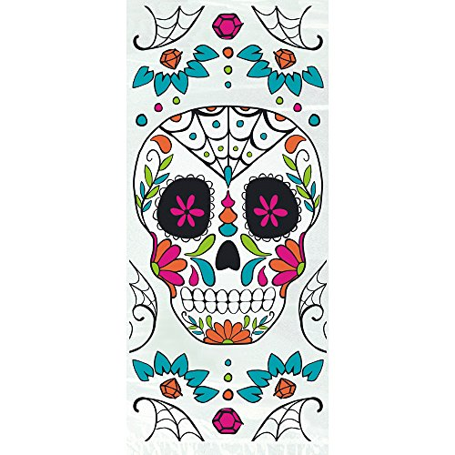 Unique Cellophane Skull Day of The Dead Halloween Party Bags, Party Favors, 20 Ct
