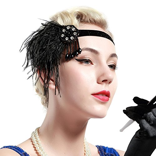 BABEYOND 1920s Flapper Headband 20s Great Gatsby Headpiece Black Feather Headband 1920s Flapper Gatsby Hair Accessories with Crystal -