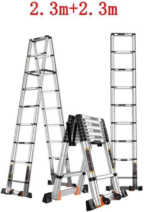 MLMHLMR Escalera Plegable casa de bambú Festival Interior Escalera telescópica Engrosada aleación de Aluminio Taburete (Size : 2.3m+2.3m): Amazon.es: Hogar
