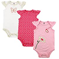 Hudson Baby Girls' 3-Pack Hanging Bodysuit, Butterfly, 9-12 Months