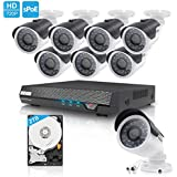 TECBOX CCTV Security Camera System AHD DVR 8 Channel 2TB Hard Drive Included with 8 HD 720P Outdoor Surveillance Remote View Motion Detection Wifi Camera