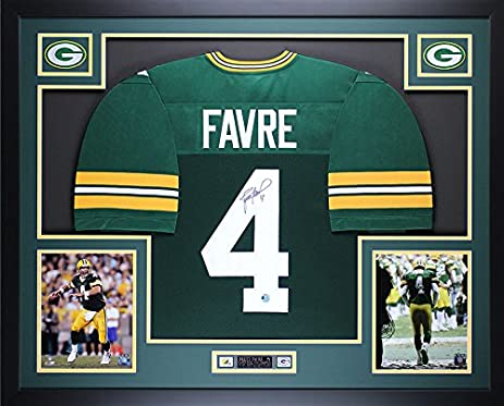 Brett Favre Autographed And Framed Green Packers Jersey Auto Favre