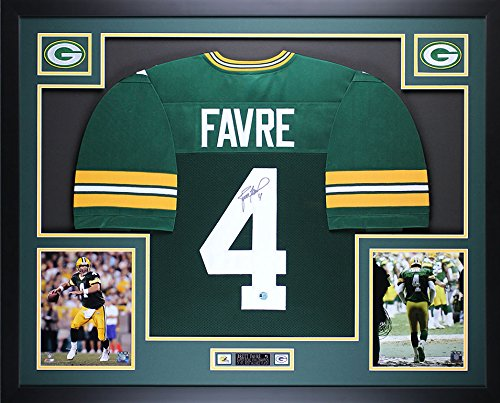 Hand Signed Green - Brett Favre Autographed Green Packers Jersey - Beautifully Matted and Framed - Hand Signed By Brett Favre and Certified Authentic by Auto Favre COA - Includes Certificate of Authenticity