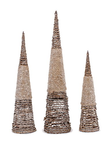 Cone Tree Set - Glitter Rope Cone Trees Assorted Christmas Table Top Figurine Decorations Set of 3