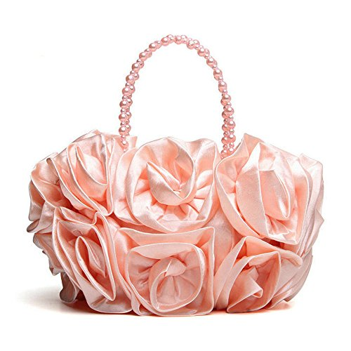 Women Satin Pearl Red for Chain PinkChampagne Wedding Beaded Bag Evening Pure Rose Handle Clutches Color Purse Handbag Evening Handbags with x4nqwpgr48