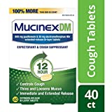 Cough Suppressant and Expectorant, Mucinex DM 12 Hr Relief Tablets, 40ct, 600 mg, Thins & loosens mucus that causes chest congestion.