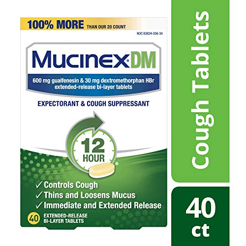 Cough Suppressant and Expectorant, Mucinex DM 12 Hr Relief Tablets, 40ct, 600 mg, Thins & loosens mucus that causes chest congestion, #1 Doctor recommended OTC expectorant - Suppressant Cough
