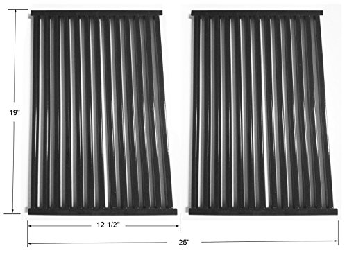BBQ funland GP6662 Gloss Porcelain-Enameled Cooking Grid, Cooking Grates Replacement for Brinkmann 6345, Bakers & Chefs ST1017-012939, ST1017-012939, Charbroil and Charmglow Grills, Set of 2