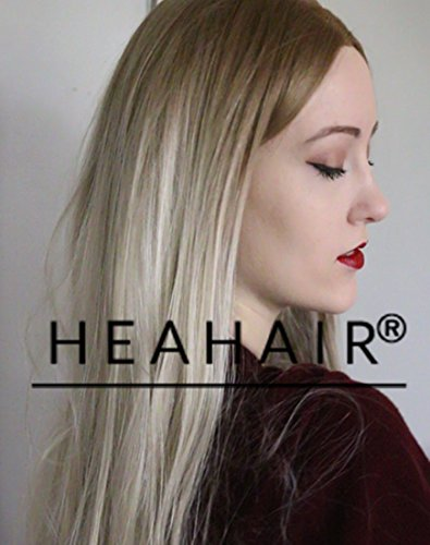 [Heahair Fashion Natural Looking Blonde Dark Root Ombre Straight Handtied Synthetic Lace Front Wig for Woman(Brown to Ash] (Fancy Dress Hollywood Themed Costumes)