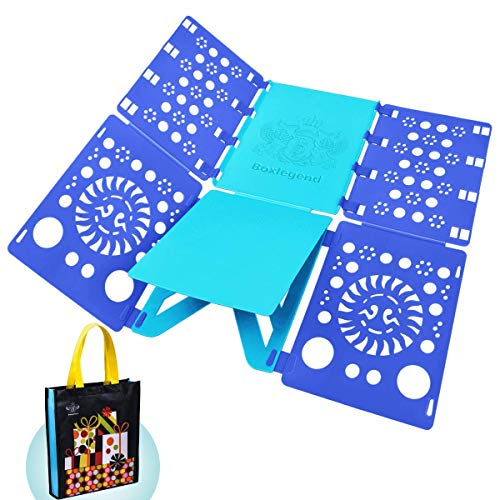 BoxLegend v1 Tshirt Folding Board t Shirt Folder Clothes flip fold Plastic flipfold Laundry Room Organizer 23x27.5inch Light Blue