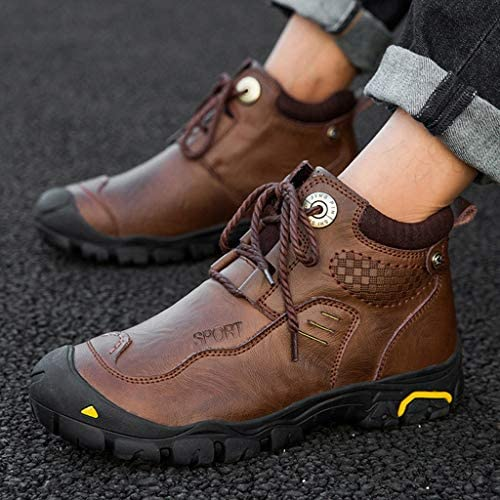 トレッキングコンフォートメモリ泡の靴をハイキングメンズレザー軽量防水ウォーキング (Color : Black, Size : 7.5UK)