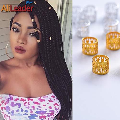 Golden Dreadlock Beads for Hair Adjustable No Rust Aluminum Metal Cuffs Beads 8.5mm 100pcs Braiding Hair Decoration Jewelry by AliLeader (Golden)