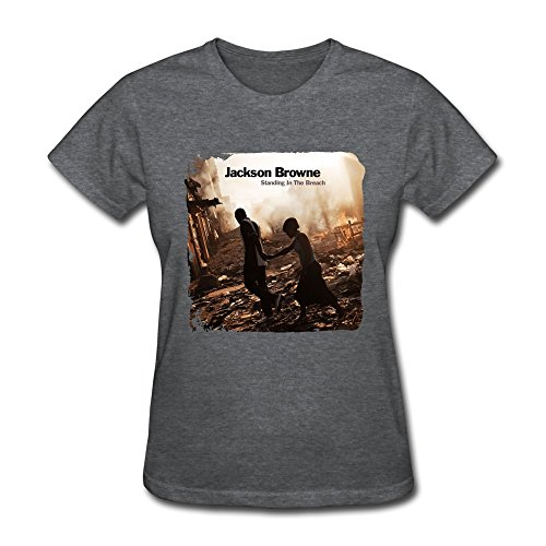 LANFENG Women's Jackson Browne Standing In The Breach T-shirt Size M DeepHeather (Jackson Browne Rock Elite Best Of Jackson Browne Live)