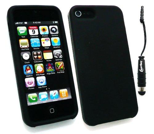 Emartbuy ® Pack Stylet Pour Apple Iphone 5 5G Mini Metallic Noir Stylus + Silicon Skin Cover / Case Black + Protecteur D'Écran Lcd